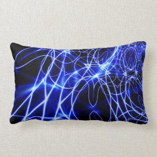 Almofada Lombar Linhas azuis da energia, flash do azul da fantasia