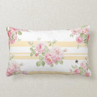 Almofada Lombar Listra do botão de ouro dos rosas do verão do