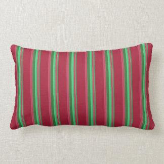 Almofada Lombar Listras vermelhas e verdes elegantes