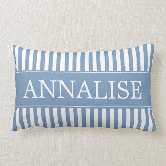 Almofada Lombar Little Boy azul e listras brancas personalizadas