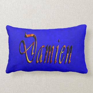 Almofada Lombar Logotipo conhecido de Damien no mosaico azul