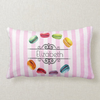 Almofada Lombar Macarons em um círculo nas listras cor-de-rosa