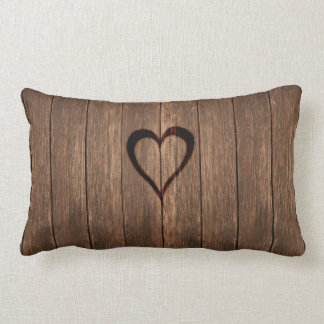 Almofada Lombar Madeira rústica impressão queimado do coração