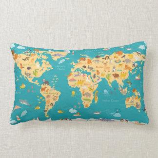 Almofada Lombar Mapa animal do mundo para miúdos