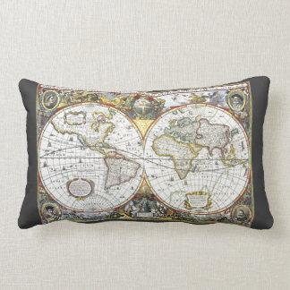 Almofada Lombar Mapa do mundo antigo por Hendrik Hondius, 1630