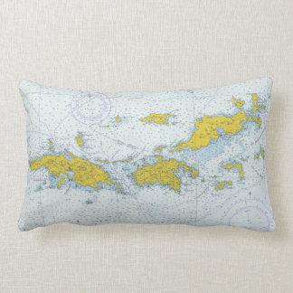 Almofada Lombar Mapa natuical da carta de Virgin Islands