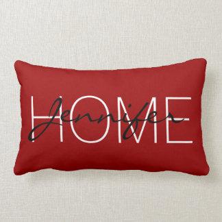 Almofada Lombar Monograma carmesim da casa da cor vermelha