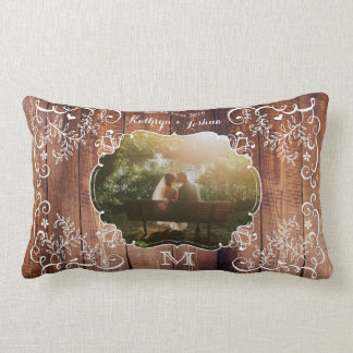 Almofada Lombar Monograma de madeira do painel da foto rústica do