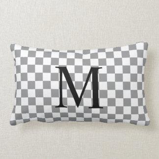 Almofada Lombar Monograma simples com teste padrão cinzento do