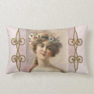 Almofada Lombar Mulher do Victorian do vintage com o ornamento de
