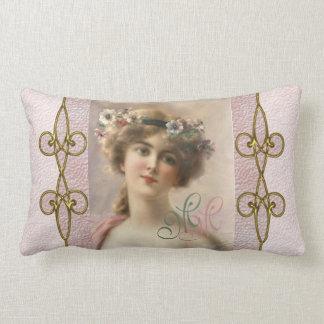 Almofada Lombar Mulher lindo do Victorian com o ornamento de