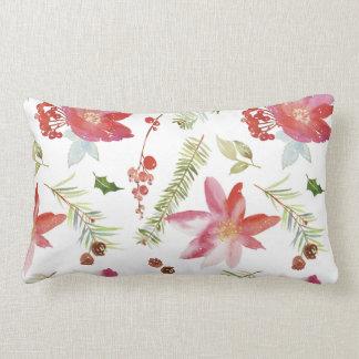 Almofada Lombar Natal da aguarela do vintage floral