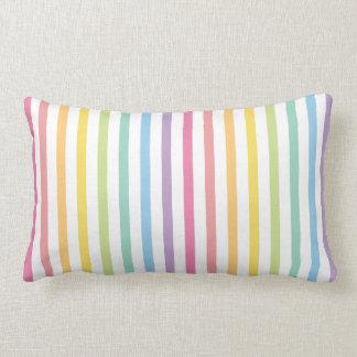 Almofada Lombar O arco-íris da cor Pastel listra o teste padrão