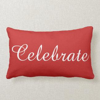 Almofada Lombar O branco vermelho do Natal comemora o travesseiro