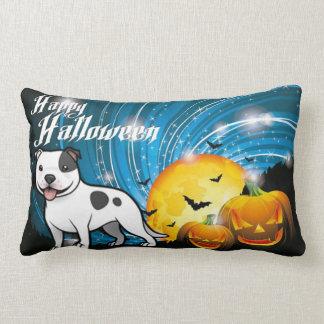 Almofada Lombar O Dia das Bruxas feliz Staffordshire bull terrier