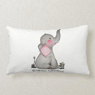 Almofada Lombar O elefante bonito do bebê da aguarela com cora &