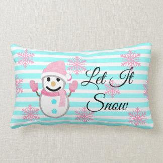 Almofada Lombar O rosa e a cerceta deixaram-no nevar travesseiro