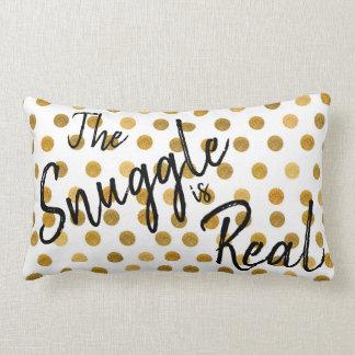 Almofada Lombar O Snuggle engraçado é ouro real faísca manchada