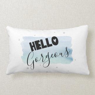 Almofada Lombar Olá! travesseiro lindo da pintura da aguarela