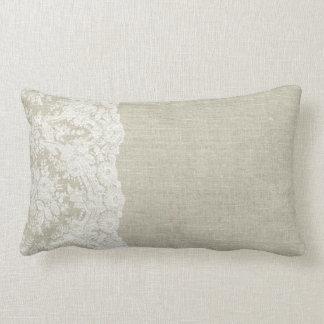 Almofada Lombar Olhar de linho com o travesseiro da borda do laço