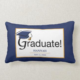 Almofada Lombar Os parabéns graduam-se, chapéu, borla, azul, ouro