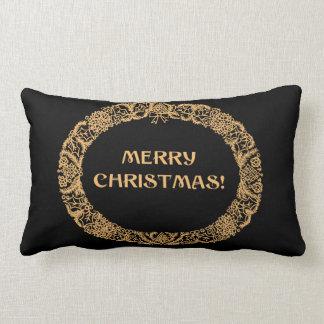 Almofada Lombar Ouro-efeito chique do design da grinalda do Natal