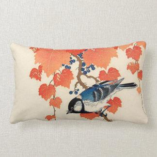 Almofada Lombar Pássaro de Jay do japonês do vintage e vinha do