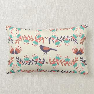 Almofada Lombar Pássaro e arte popular floral