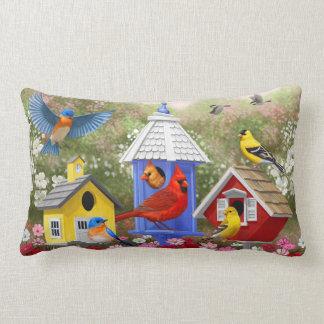 Almofada Lombar Pássaros e Birdhouses coloridos