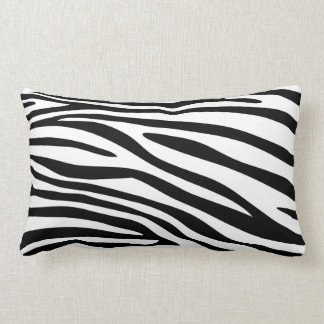 Almofada Lombar Pele preto e branco do impressão da zebra