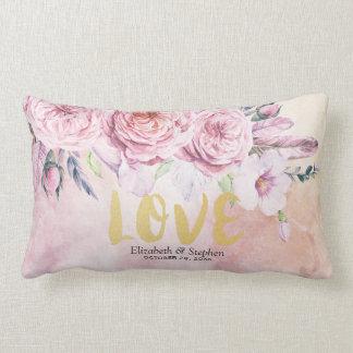 Almofada Lombar Penas florais da aguarela elegante do chá de
