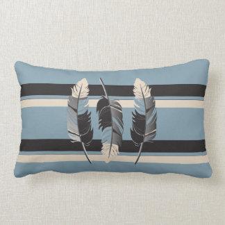 Almofada Lombar Penas nas cinzas, azul, creme