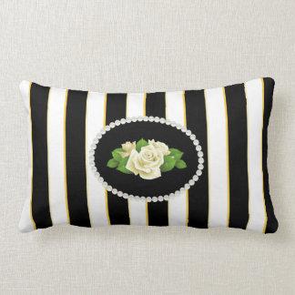 Almofada Lombar Pérolas listradas elegantes do preto, as brancas &