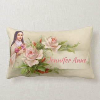Almofada Lombar Personalize St. Therese do vintage a flor pequena