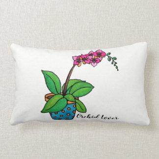 Almofada Lombar Planta da orquídea da aguarela no pote bonito