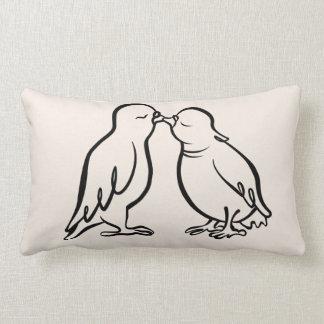 Almofada Lombar Presente de casamento de beijo de 2 pardais,