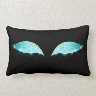 Almofada Lombar Preto azul da composição do brilho do sono do olho