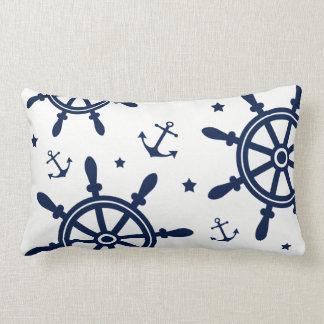 Almofada Lombar Roda do navio, âncora, azul e branco, náutico