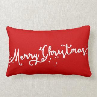 Almofada Lombar Roteiro inclinado Feliz Natal rotulado mão