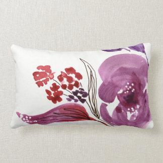 Almofada Lombar Roxo da aguarela + Travesseiro decorativo floral