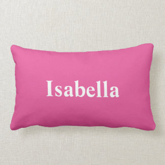 Almofada Lombar Seu nome em um travesseiro cor-de-rosa brilhante