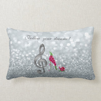 Almofada Lombar Siga seus sonhos, Glittery, saltos, chave Violine