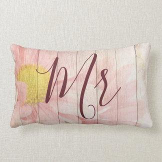 Almofada Lombar Sr. e Sra. florais cor-de-rosa