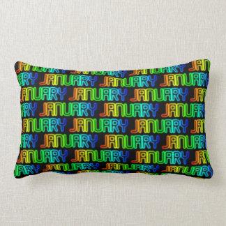 Almofada Lombar Teste padrão colorido da tipografia do arco-íris