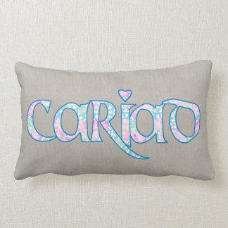 Almofada Lombar Texto floral Cariad de Galês com o travesseiro