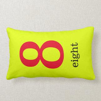 Almofada Lombar travesseiro amarelo com número oito
