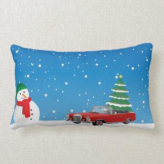 Almofada Lombar Travesseiro azul da árvore de Natal do boneco de