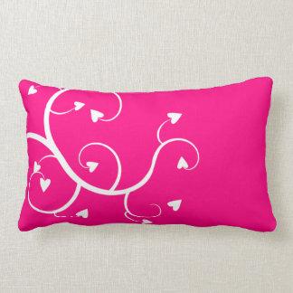 Almofada Lombar Travesseiro branco do rosa dos corações