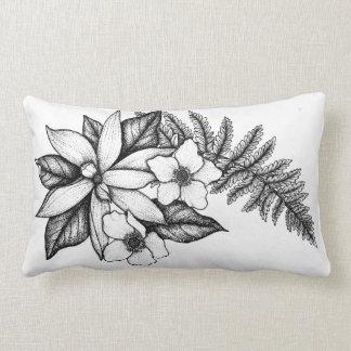 Almofada Lombar Travesseiro da flor de Blackwork