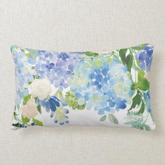 Almofada Lombar Travesseiro decorativo azul da flor do Hydrangea